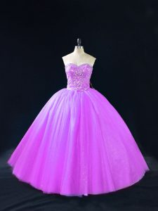 Admirable Tulle Sweetheart Sleeveless Lace Up Beading Quinceanera Gown in Purple