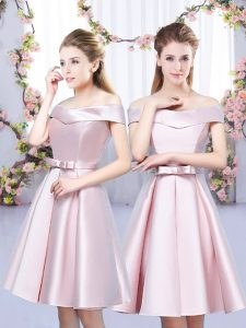 Super Off The Shoulder Sleeveless Lace Up Quinceanera Court Dresses Baby Pink Satin