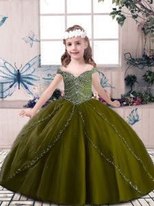 Floor Length Olive Green Little Girl Pageant Dress Straps Sleeveless Lace Up