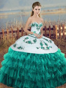 Beauteous Sleeveless Organza Floor Length Lace Up Sweet 16 Dress in Turquoise with Embroidery and Ruffled Layers and Bowknot