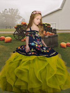 Sleeveless Organza Floor Length Lace Up Little Girls Pageant Gowns in Olive Green with Embroidery and Ruffles
