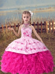 Hot Pink Halter Top Lace Up Beading and Embroidery and Ruffles Little Girls Pageant Dress Wholesale Sleeveless