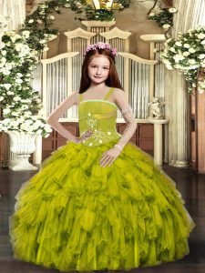 Classical Sleeveless Floor Length Ruffles Lace Up Little Girl Pageant Gowns with Olive Green
