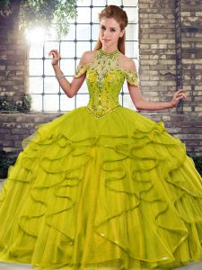 Colorful Olive Green Lace Up Sweet 16 Quinceanera Dress Beading and Ruffles Sleeveless Floor Length