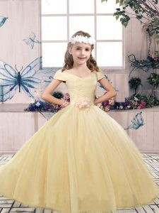 Champagne Tulle Lace Up Little Girl Pageant Gowns Sleeveless Floor Length Lace and Belt