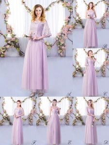 Adorable Lavender Off The Shoulder Neckline Lace and Belt Quinceanera Dama Dress Half Sleeves Side Zipper