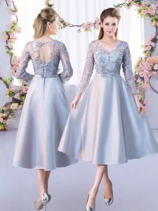 Satin V-neck 3 4 Length Sleeve Lace Up Lace Quinceanera Court of Honor Dress in Silver
