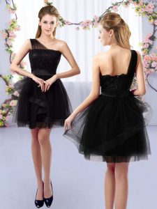Black A-line Lace Quinceanera Dama Dress Side Zipper Tulle Sleeveless Mini Length