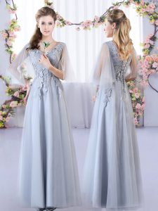 Most Popular Grey Sleeveless Appliques Floor Length Quinceanera Court Dresses