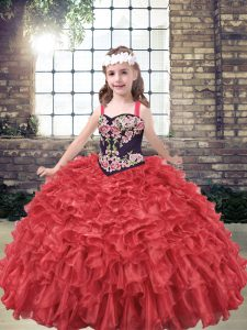 Dazzling Sleeveless Embroidery and Ruffles Lace Up Little Girl Pageant Dress