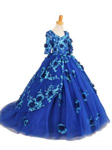 Blue Half Sleeves Brush Train Beading and Appliques Little Girl Pageant Dress