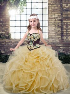 Champagne Tulle Lace Up Straps Sleeveless Floor Length Little Girl Pageant Dress Embroidery and Ruffles