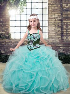 Inexpensive Aqua Blue Sleeveless Floor Length Embroidery and Ruffles Lace Up Little Girl Pageant Dress