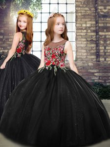 Scoop Sleeveless Zipper Girls Pageant Dresses Black Tulle