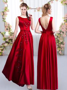 Satin Scoop Sleeveless Backless Beading and Appliques Dama Dress in Red