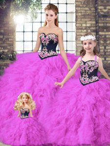 Discount Fuchsia Tulle Lace Up Sweetheart Sleeveless Floor Length Quinceanera Dresses Beading and Embroidery