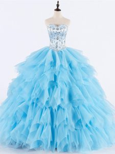 Sleeveless Floor Length Beading and Ruffles Lace Up Quinceanera Dresses with Baby Blue
