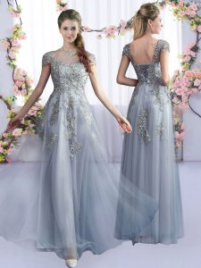 Cute Grey Cap Sleeves Lace Floor Length Court Dresses for Sweet 16