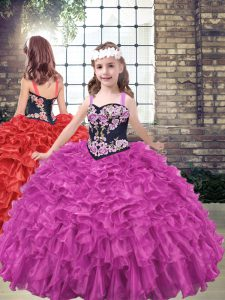 Fuchsia Organza Lace Up Straps Sleeveless Floor Length Kids Pageant Dress Embroidery and Ruffled Layers