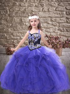 Most Popular Straps Sleeveless Lace Up Little Girl Pageant Gowns Purple Tulle