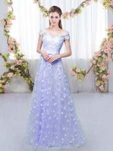 Comfortable Tulle Cap Sleeves Floor Length Damas Dress and Appliques