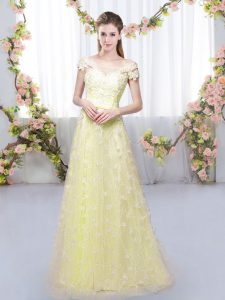 Light Yellow Off The Shoulder Neckline Appliques Quinceanera Dama Dress Cap Sleeves Lace Up