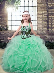 Latest Straps Sleeveless Lace Up Kids Pageant Dress Apple Green Tulle