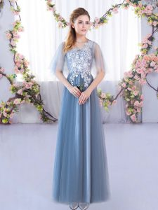 Blue A-line Lace Quinceanera Dama Dress Lace Up Tulle Half Sleeves Floor Length