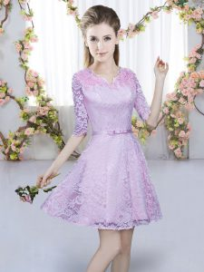 Hot Sale Mini Length Lavender Dama Dress for Quinceanera Lace Half Sleeves Belt