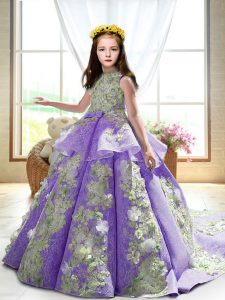 Lavender High-neck Backless Appliques Kids Pageant Dress Court Train Sleeveless