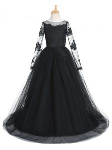 Gorgeous Scoop Long Sleeves Little Girls Pageant Gowns Brush Train Lace Black Tulle