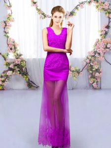 Modern Purple Tulle Lace Up Damas Dress Sleeveless Floor Length Lace