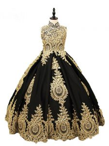 Sleeveless Satin Floor Length Lace Up Girls Pageant Dresses in Black with Beading
