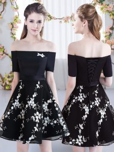 Traditional Black Off The Shoulder Lace Up Appliques Quinceanera Dama Dress Short Sleeves