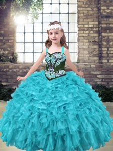 Straps Sleeveless Lace Up Girls Pageant Dresses Aqua Blue and Turquoise Organza