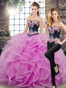 Discount Lilac Sweetheart Neckline Embroidery and Ruffles Quinceanera Dresses Sleeveless Lace Up
