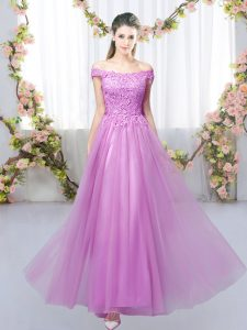 Suitable Lilac Off The Shoulder Neckline Lace Quinceanera Dama Dress Sleeveless Lace Up