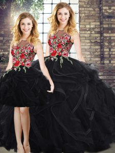 Scoop Sleeveless 15th Birthday Dress Floor Length Embroidery and Ruffles Black