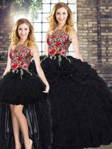 Elegant Black Sleeveless Floor Length Embroidery and Ruffles Zipper Quinceanera Dress