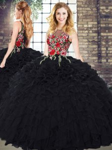 Black Quinceanera Gown Military Ball and Sweet 16 and Quinceanera with Embroidery and Ruffles Scoop Sleeveless Zipper