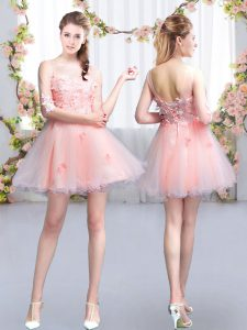 Mini Length Pink Quinceanera Dama Dress Scoop Half Sleeves Lace Up