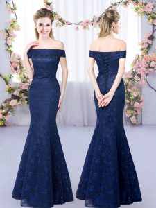 Navy Blue Lace Up Off The Shoulder Lace Quinceanera Dama Dress Sleeveless