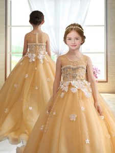 Gold Zipper Kids Formal Wear Beading and Appliques Sleeveless Brush Train