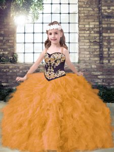 Customized Embroidery and Ruffles Kids Formal Wear Gold Lace Up Sleeveless Floor Length
