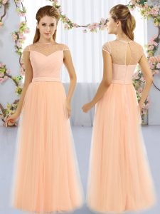 Chic Peach High-neck Neckline Beading Vestidos de Damas Cap Sleeves Zipper