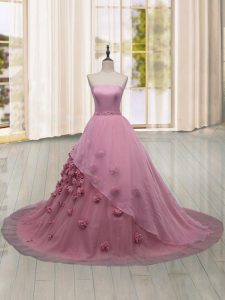 Exquisite Tulle Sleeveless Vestidos de Quinceanera Brush Train and Hand Made Flower