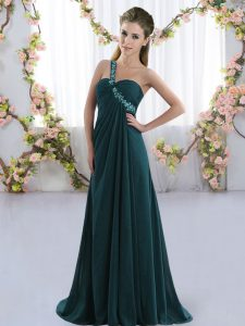 One Shoulder Sleeveless Dama Dress Brush Train Beading Peacock Green Chiffon