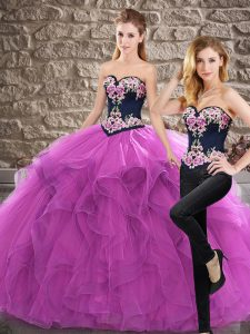 Sleeveless Sweep Train Lace Up Quince Ball Gowns in Purple with Embroidery and Ruffles