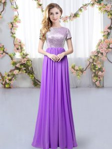 Hot Selling Purple Chiffon Zipper Scoop Short Sleeves Floor Length Dama Dress Sequins