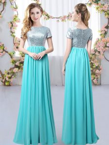 Chiffon Scoop Short Sleeves Zipper Sequins Quinceanera Court of Honor Dress in Aqua Blue